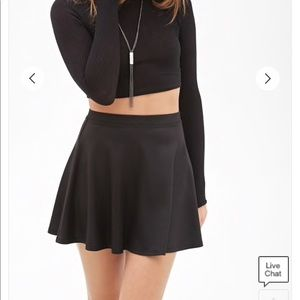 SHEENY BLACK SKATER SKIRT